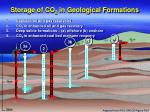 storage of co 2 in geological formations