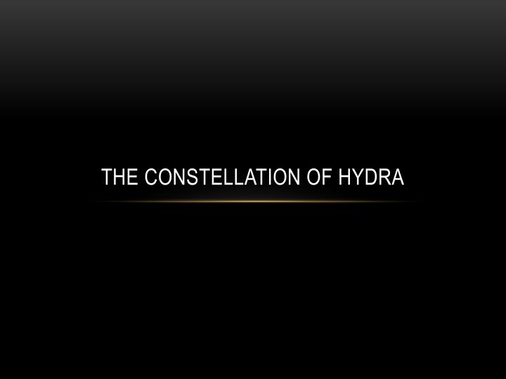 the constellation of hydra n.
