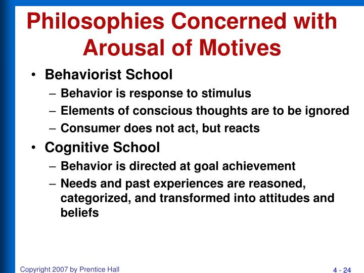 Philosophies Concerned with Arousal of Motives