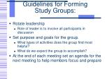 guidelines for forming study groups