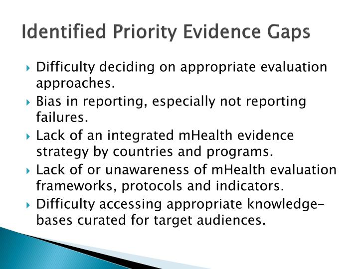 Identified Priority Evidence Gaps