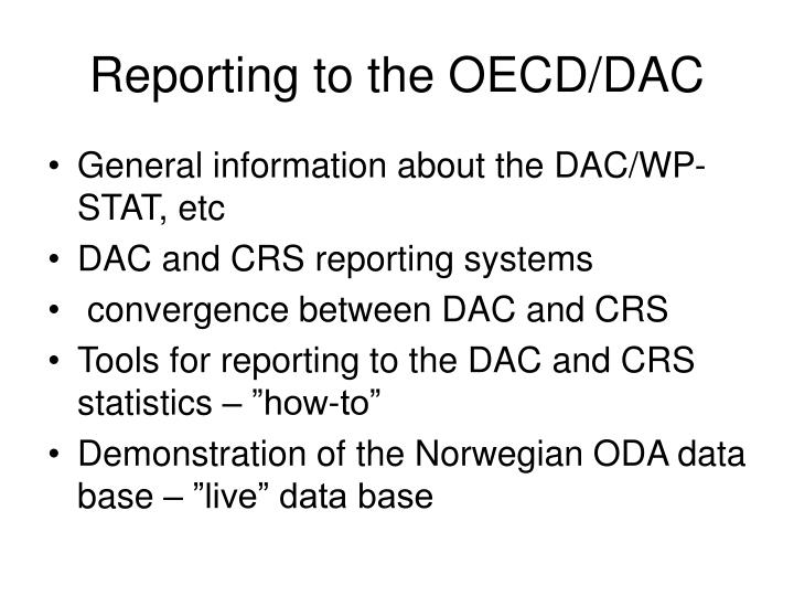 reporting to the oecd dac n.