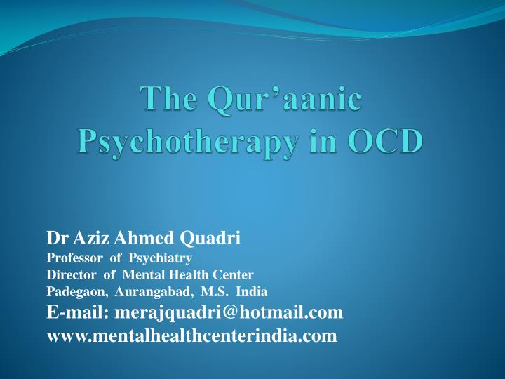 the qur aanic psychotherapy in ocd n.