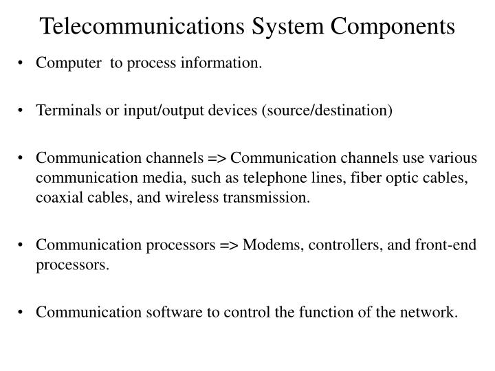 telecommunications system components n.