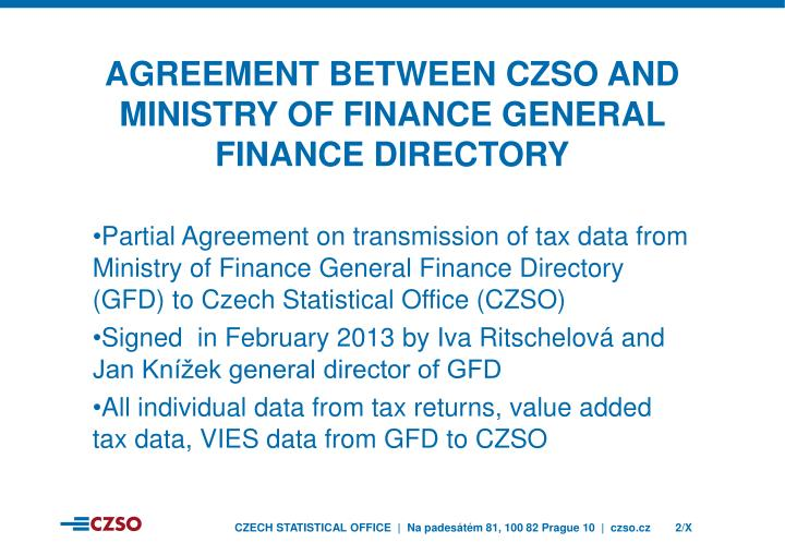 Agreement between czso and ministry of finance General finance directory