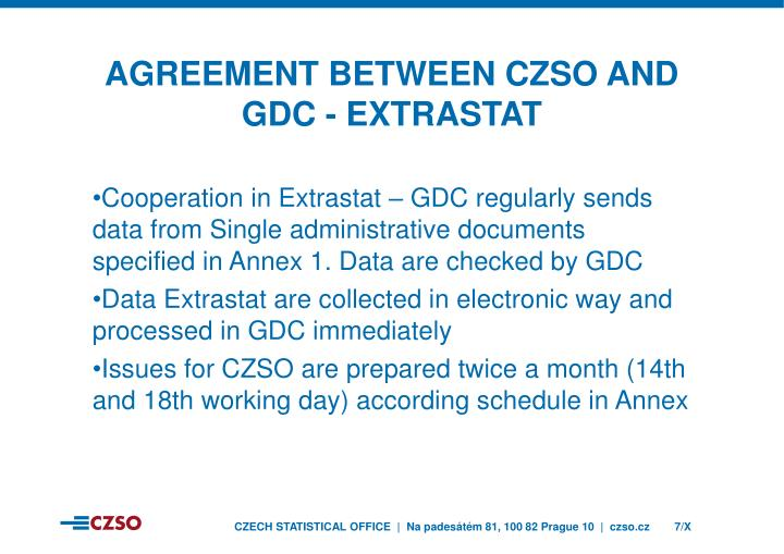 Agreement between czso and gdc - EXTRASTAT