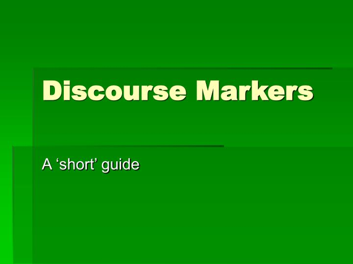 discourse markers n.