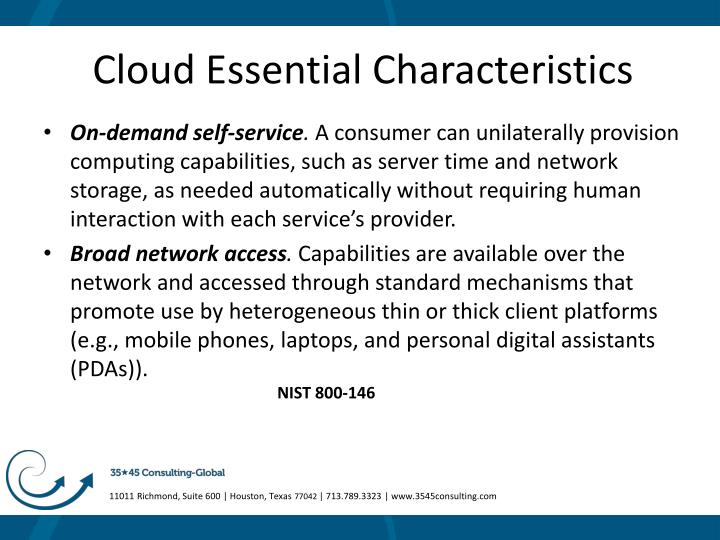 Cloud Essential Characteristics