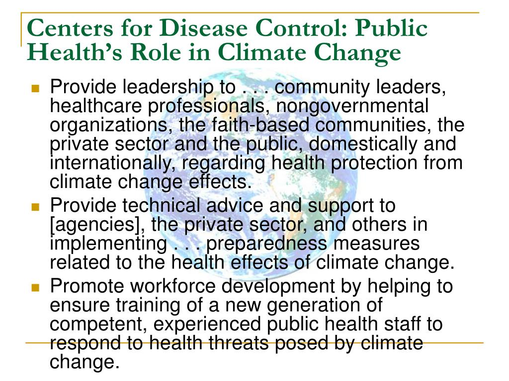 Centers for Disease Control: Public Health's Role in Climate Change