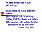 at risk students have difficulty