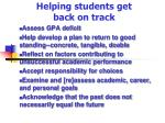 helping students get back on track