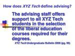 how does xyz tech define advising
