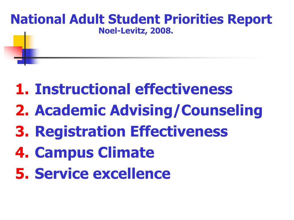 National Adult Student Priorities Report