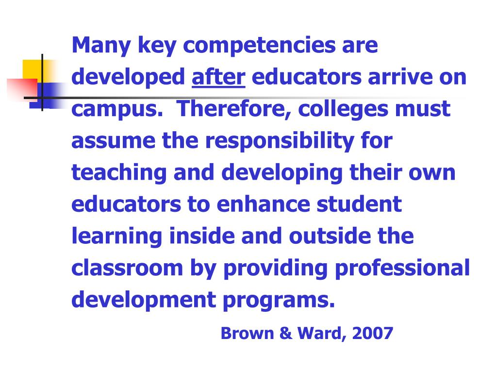 Many key competencies are developed
