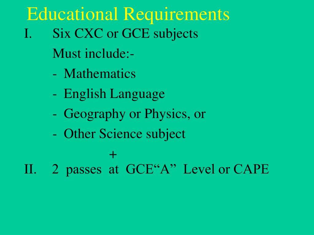 educational requirements l.
