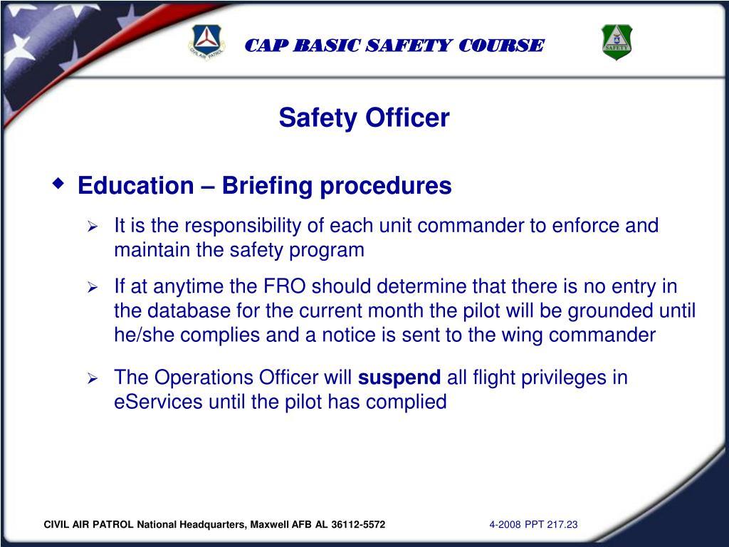Education – Briefing procedures