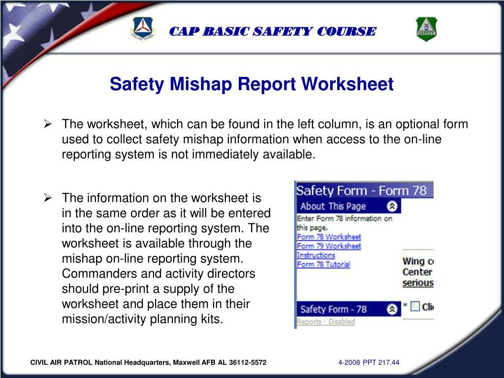 Safety Mishap Report Worksheet