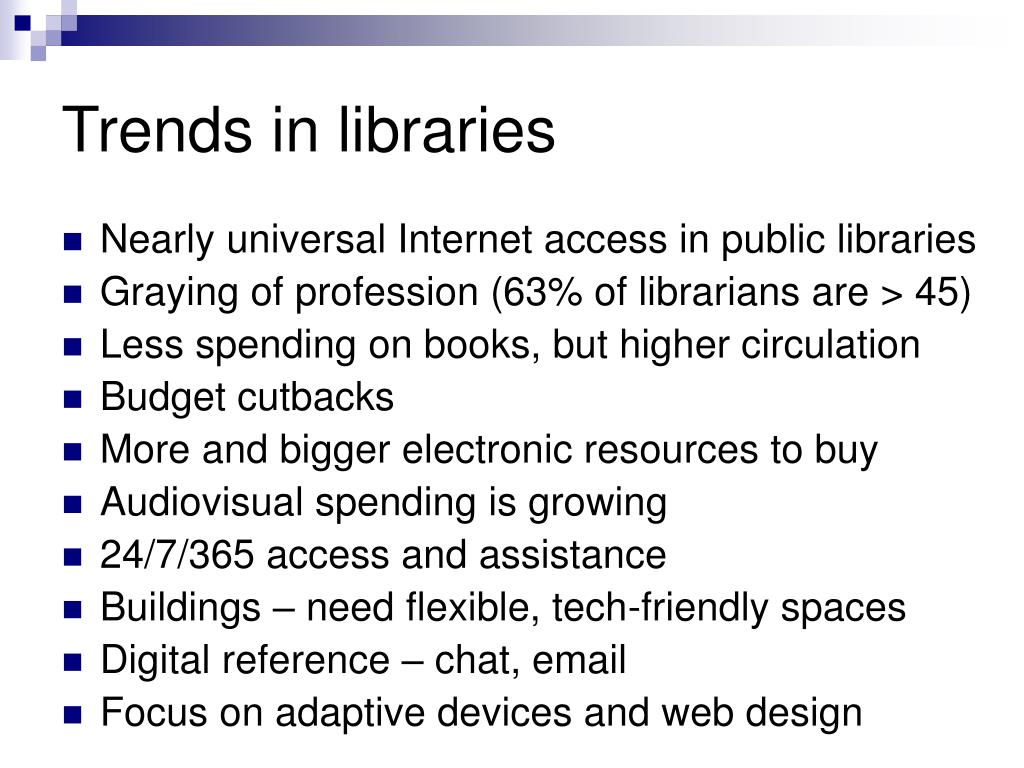 Trends in libraries