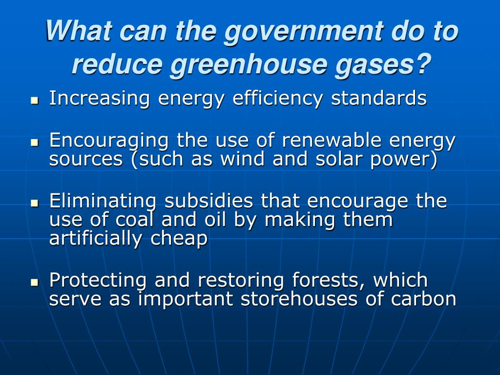 What can the government do to reduce greenhouse gases?