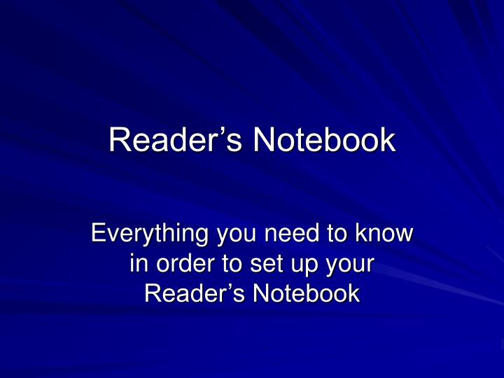 reader s notebook n.