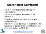 stakeholder comments