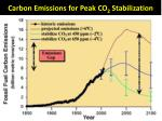 carbon emissions for peak co 2 stabilization