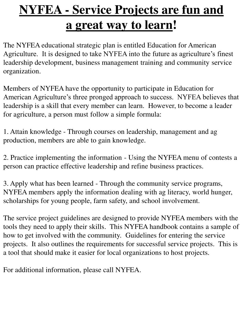 NYFEA - Service Projects