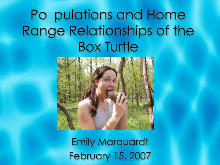 po pulations and home range relationships of the box turtle n.