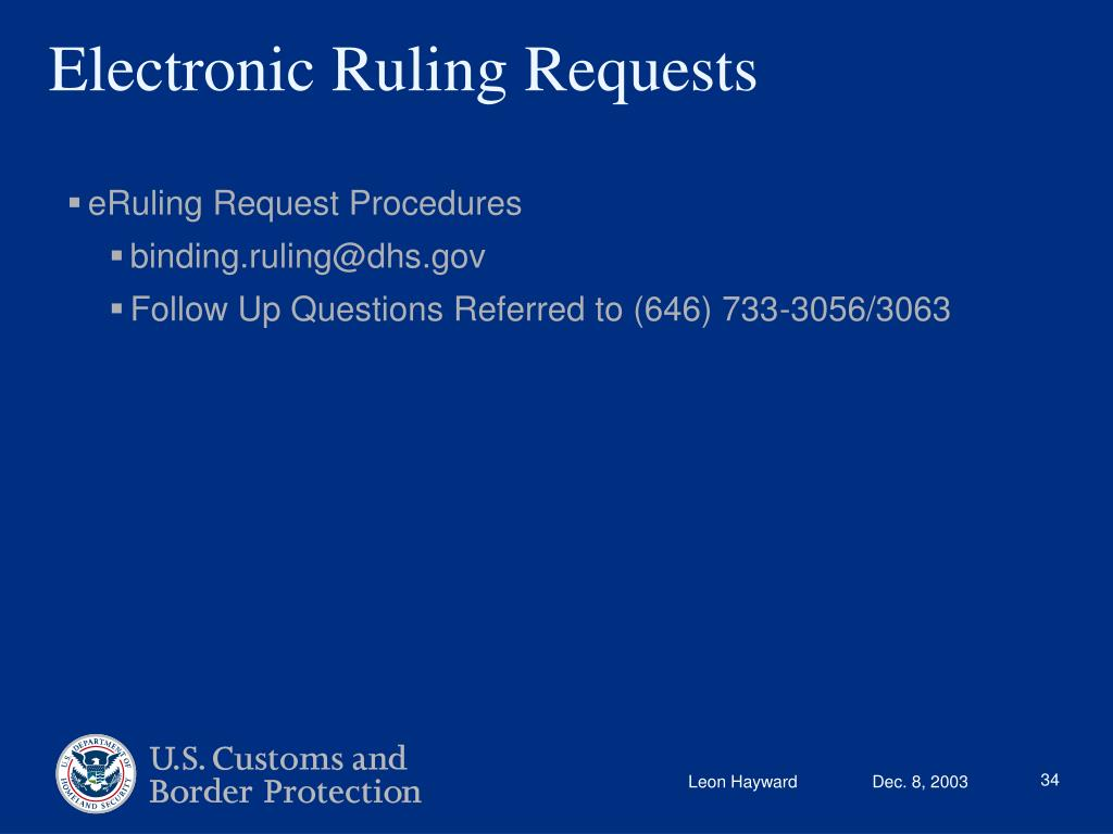 Electronic Ruling Requests