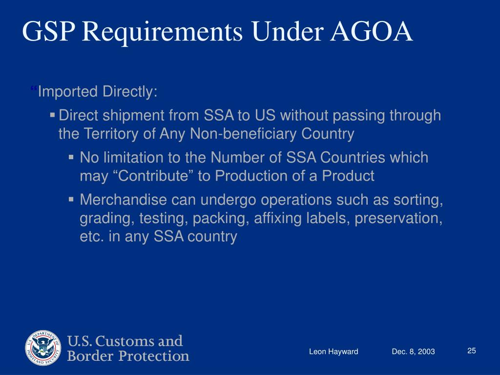 GSP Requirements Under AGOA