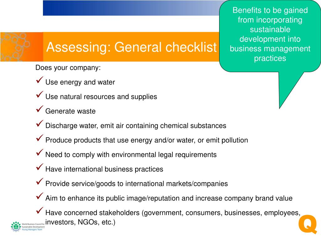 Benefits to be gained from incorporating sustainable development into  business management practices