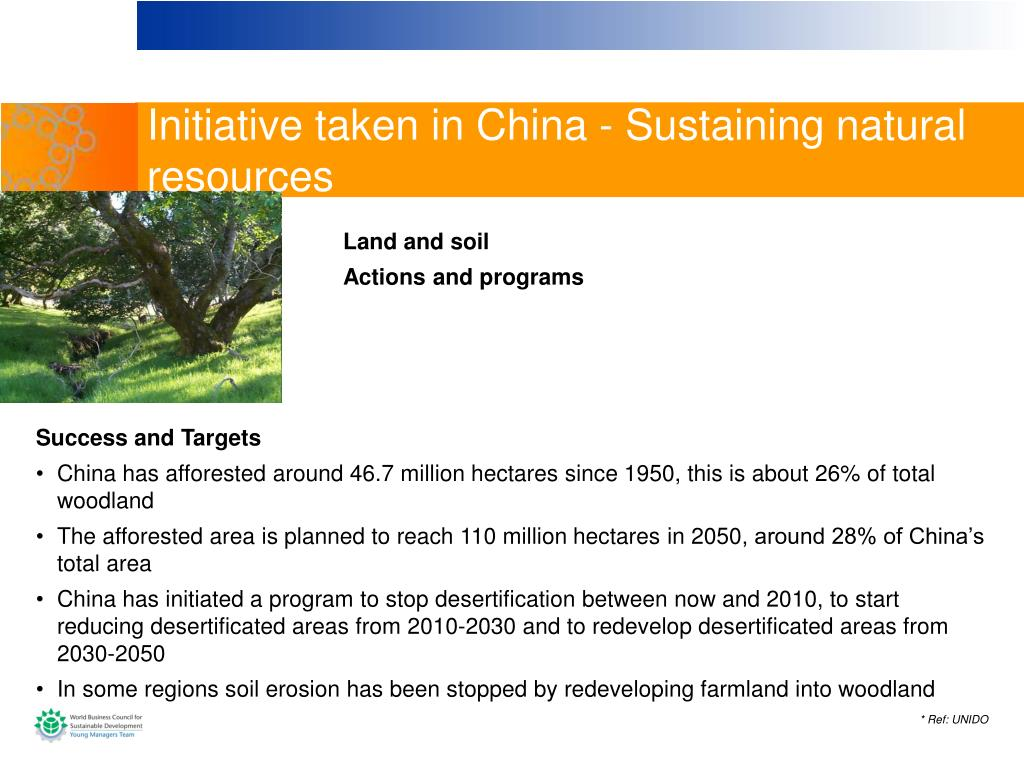 Initiative taken in China - Sustaining natural resources