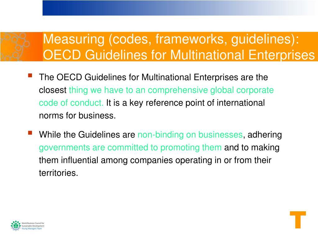 Measuring (codes, frameworks, guidelines)