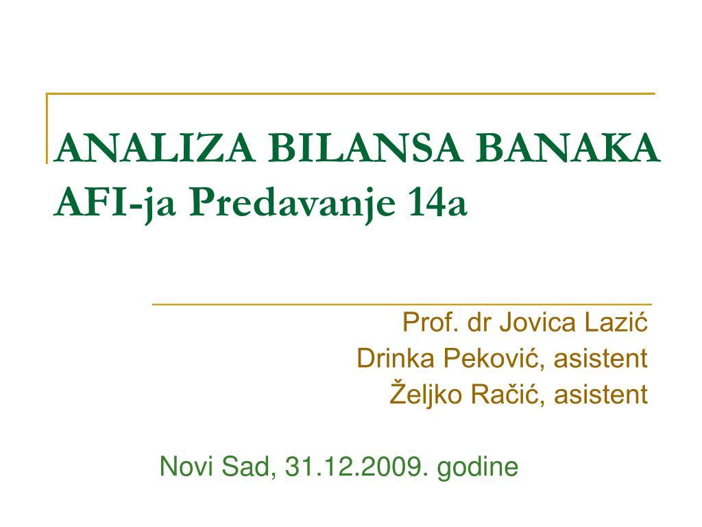 analiza bilansa banaka afi ja predavanje 14a l.
