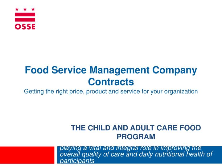 the child and adult care food program n.