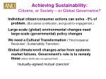 achieving sustainability citizens or society or global governance