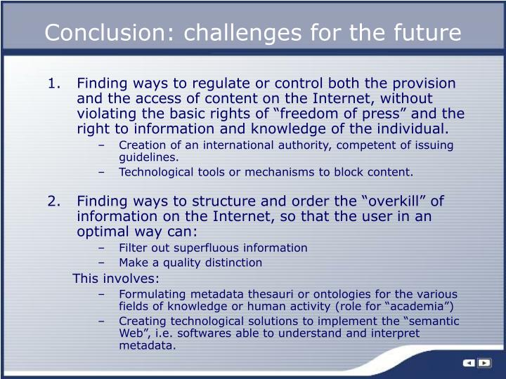 Conclusion: challenges for the future