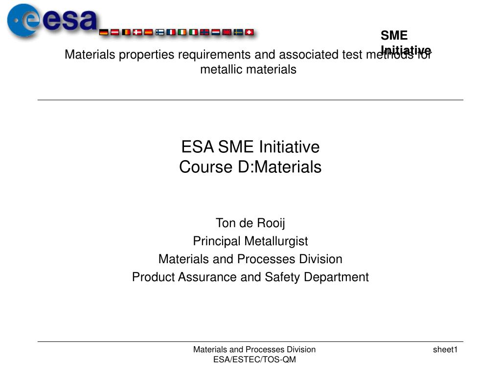 esa sme initiative course d materials l.