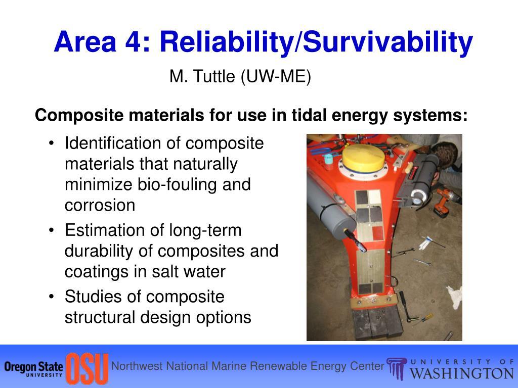 Area 4: Reliability/Survivability