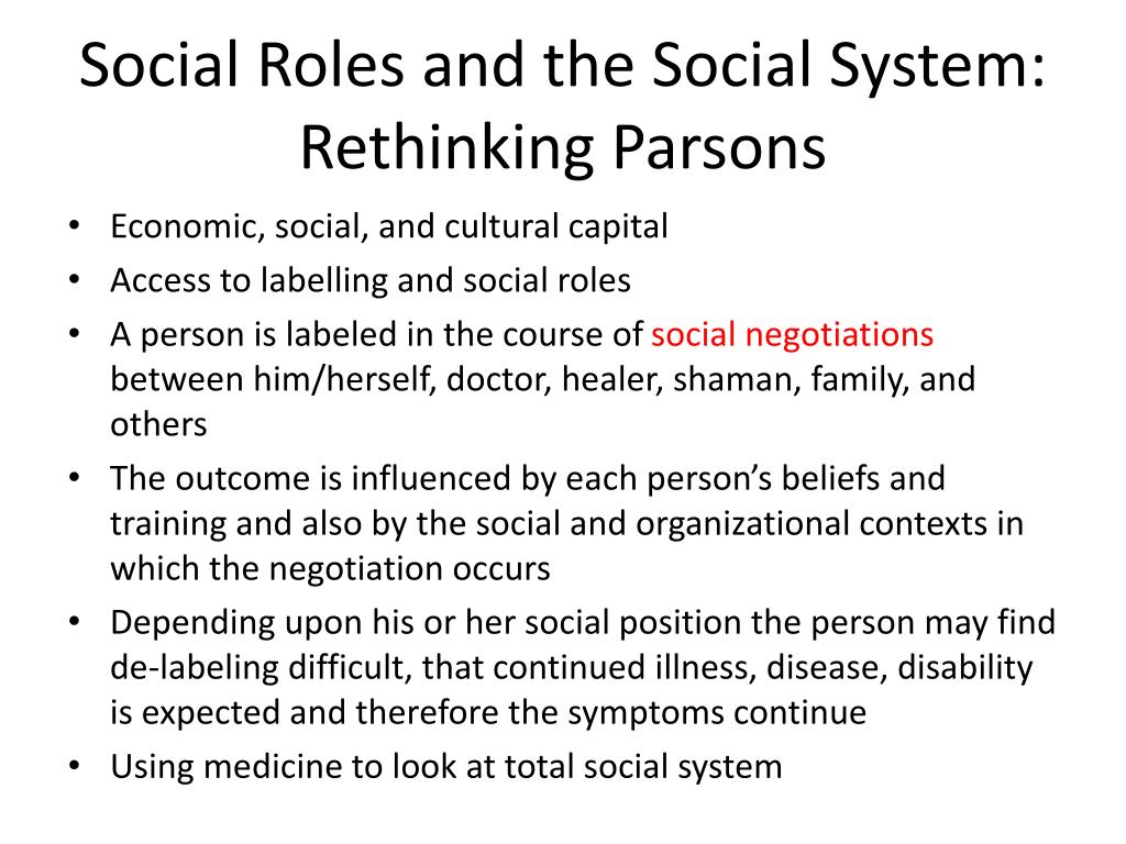 Social Roles and the Social System:  Rethinking Parsons