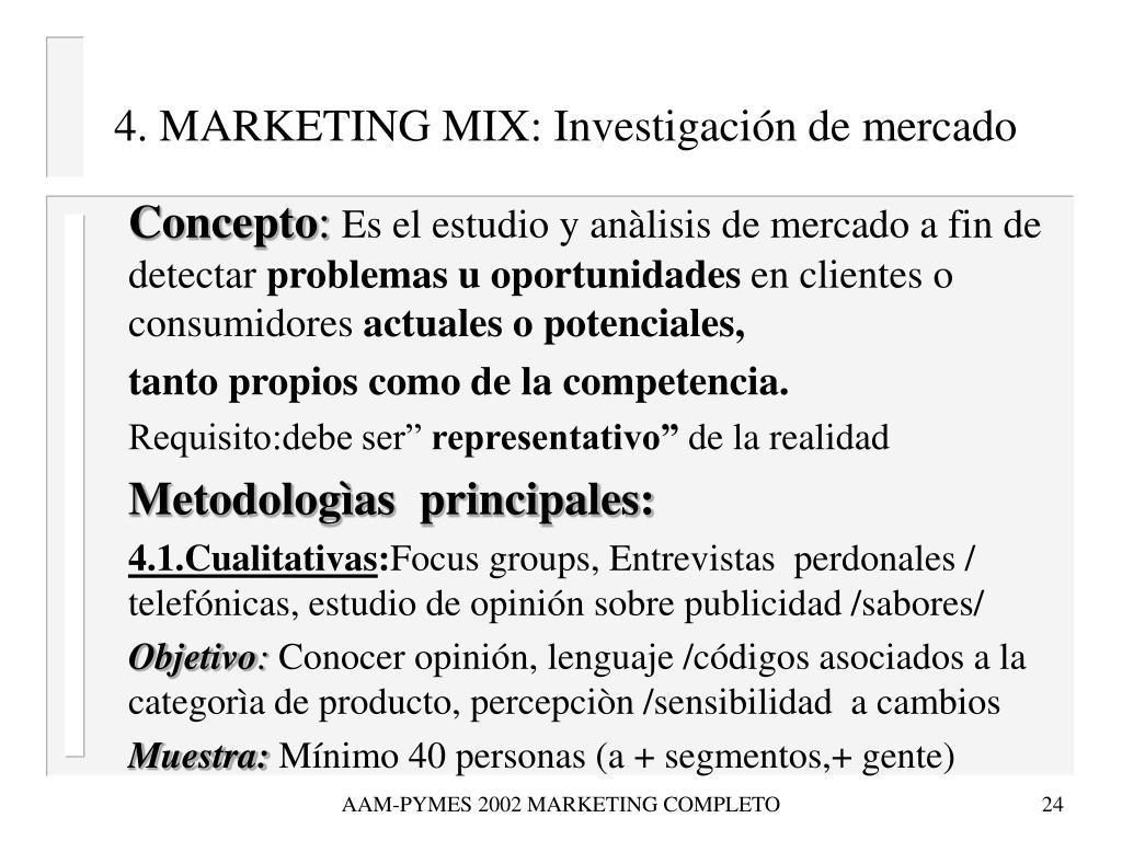 4. MARKETING MIX: Investigación de mercado