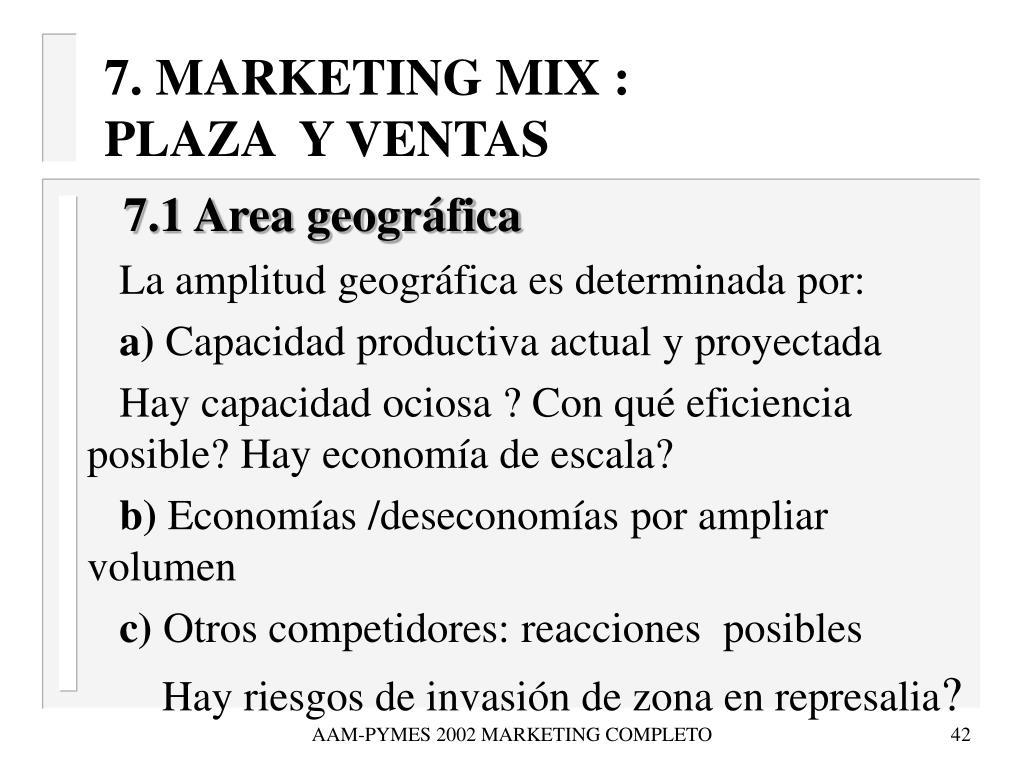 7. MARKETING MIX :