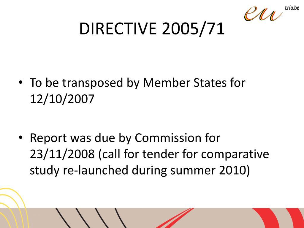 DIRECTIVE 2005/71