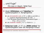 und fuge f8 liste in aleph nsw tool