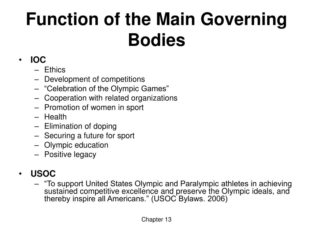 Function of the Main Governing Bodies
