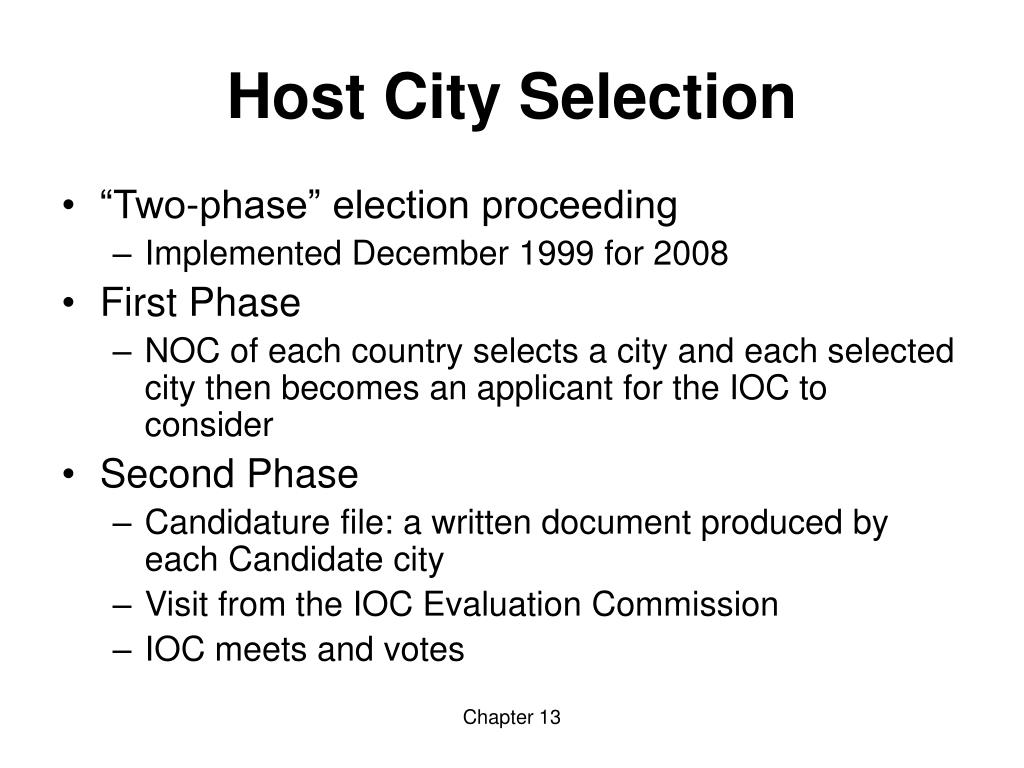 Host City Selection