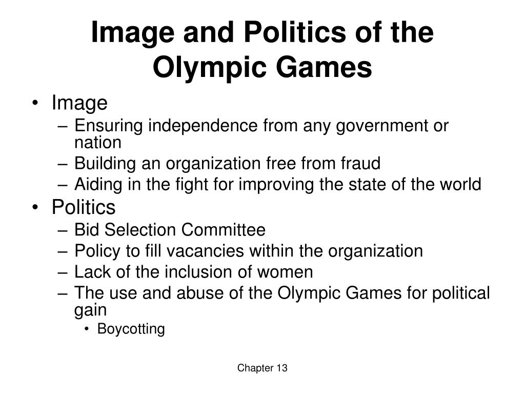Image and Politics of the Olympic Games