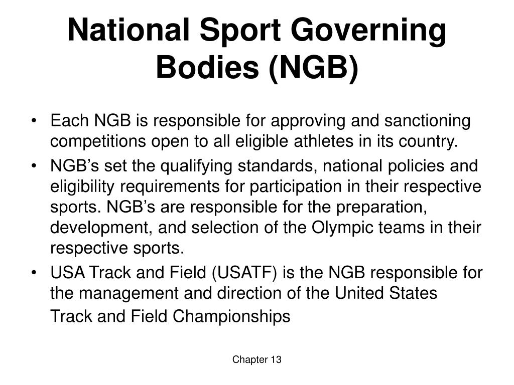National Sport Governing Bodies (NGB)