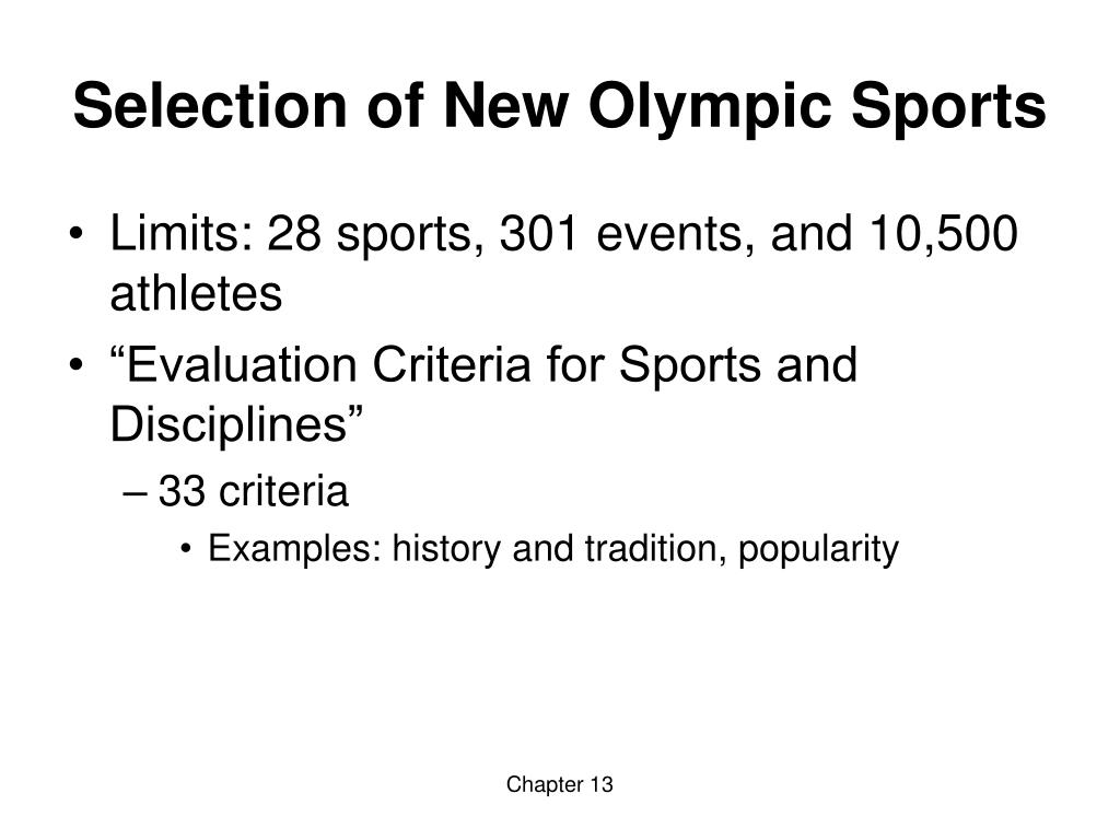 Selection of New Olympic Sports