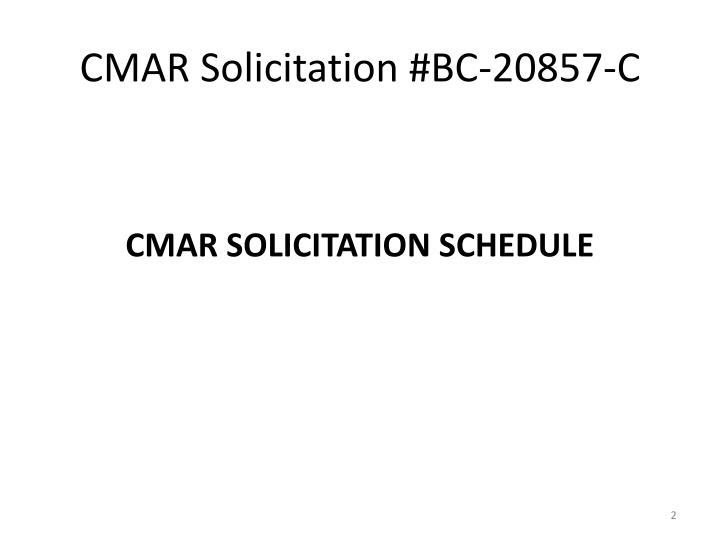 Cmar solicitation bc 20857 c